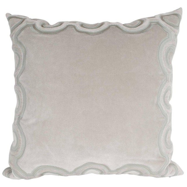 Custom Handmade Dove Gray Pillow with Embroidered Circular and Geometric Forms For Sale In New York - Image 6 of 6