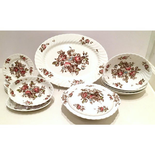 "Vintage English Ironstone ""Devon Sprays"" Dinnerware by Johnson Brothers - Set of 16 For Sale - Image 12 of 12"