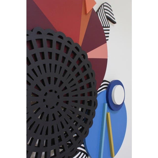 Wall sculpture by Angela Chrusciaki Blehm, ink and acrylic latex paint on wood, signed on back