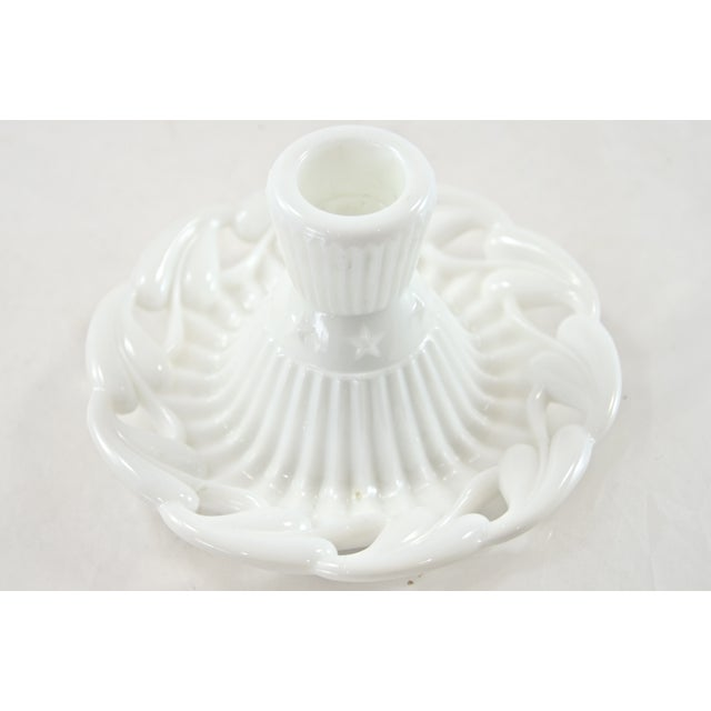 1950s Fostoria Open Work White Candleholders - a Pair - Image 2 of 4