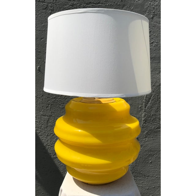 Enamel Mid Century Modern Yellow Glass Table Lamp For Sale - Image 7 of 7