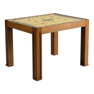 Jacques Lenoble/Jacques Adnet Ceramic Tile Top Oak Side Table For Sale