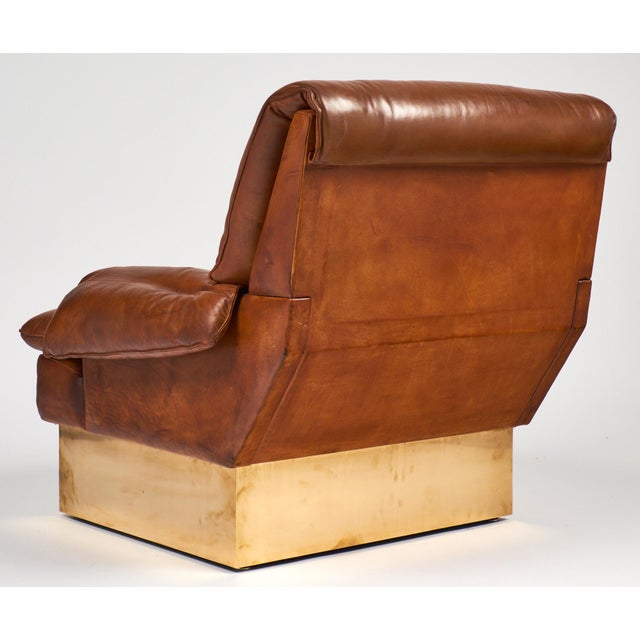 Modernist French Leather & Brass Armchair with Ottoman - Image 8 of 11