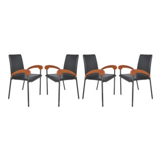 Metal , Wood & Leather Armchairs for Xo Design-Set of 4 For Sale
