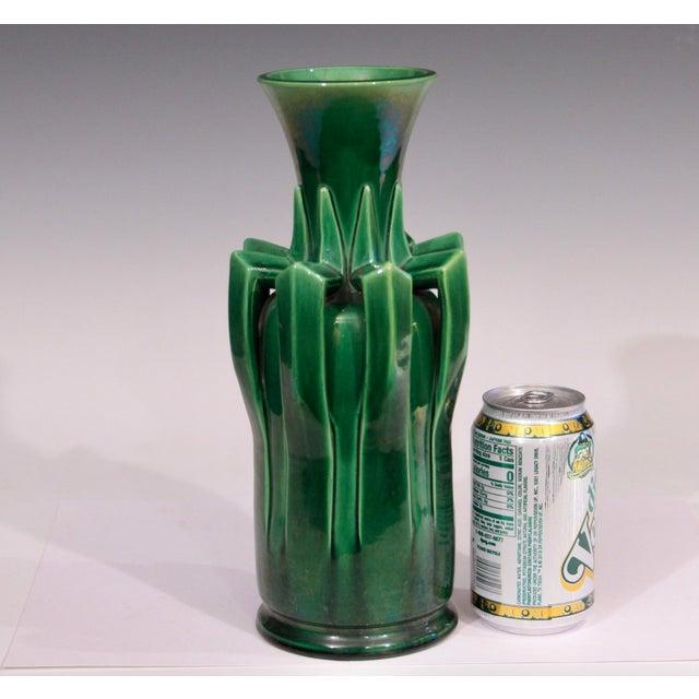 1910s Awaji Pottery Organic Arts & Crafts Petal Handle Green Monochrome Vase For Sale - Image 10 of 12