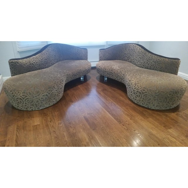 Weiman Vladimir Kagan for Weiman Serpentine Cloud Sofas Lucite Legs - a Pair For Sale - Image 4 of 10