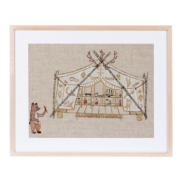 Tent and Bear Framed Textile Art - Image 1 of 3