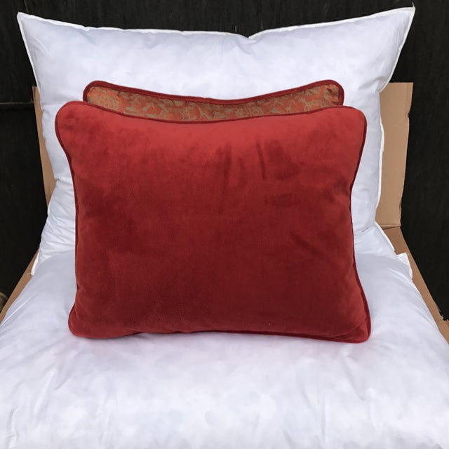 Transitional Rust & Metallic Gold Fortuny Pillows - A Pair - Image 5 of 5