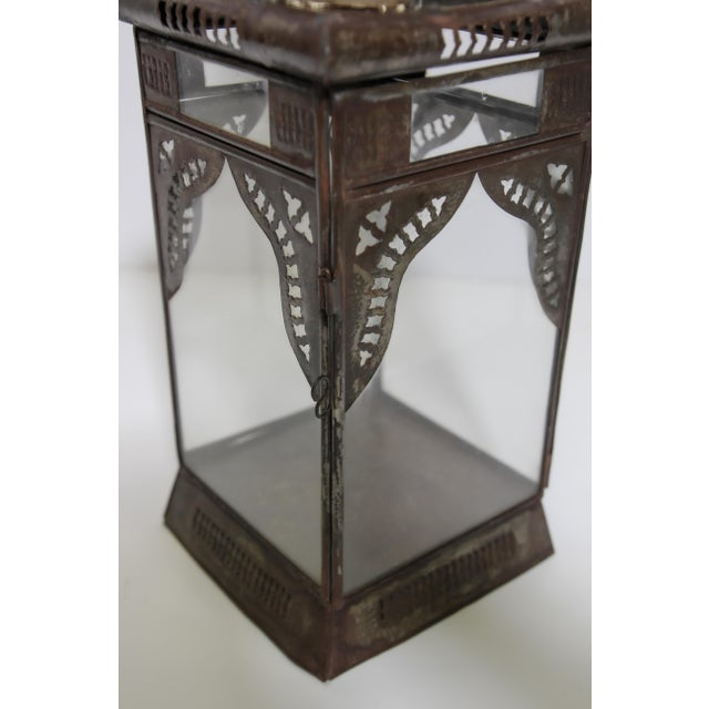 Metal Moroccan Moorish Square Metal and Clear Glass Candle Lantern For Sale - Image 7 of 13