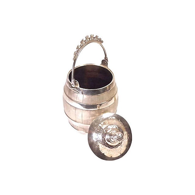 Traditional 1900s Traditional Silver Plated Biscuit Barrel For Sale - Image 3 of 6
