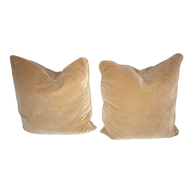 Pair of Mohair Camel Color Pillows For Sale