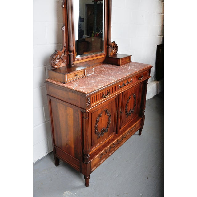 Brown 1900's French Walnut Vanity Dresser with Red Italian Marble Top For Sale - Image 8 of 13