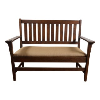 1900s Vintage Gustav Stickley American Oak Bench For Sale