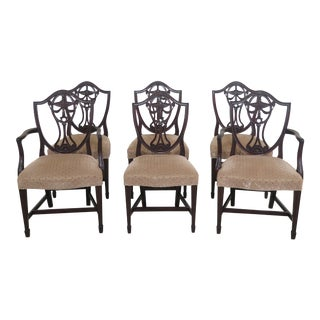 1940s Vintage Potthast Carved Mahogany Dining Room Chairs- Set of 6 For Sale