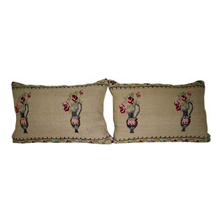 Set of Two Needlepoint Tapestry Aubusson Woven Lumbar Kilim Pillow Cover, Tribal Oblong Chair Decor 16'' X 24'' (40 X 60 Cm) For Sale
