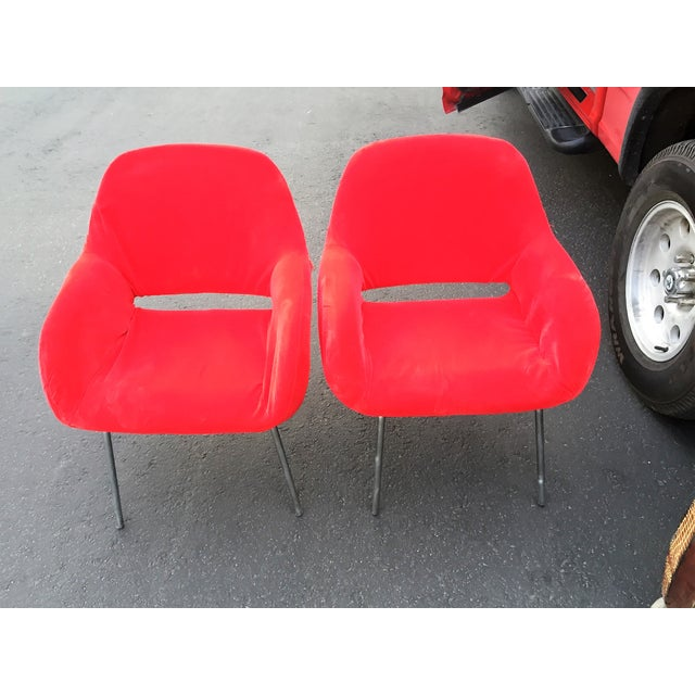 Red Velvet Chairs - Pair - Image 6 of 6