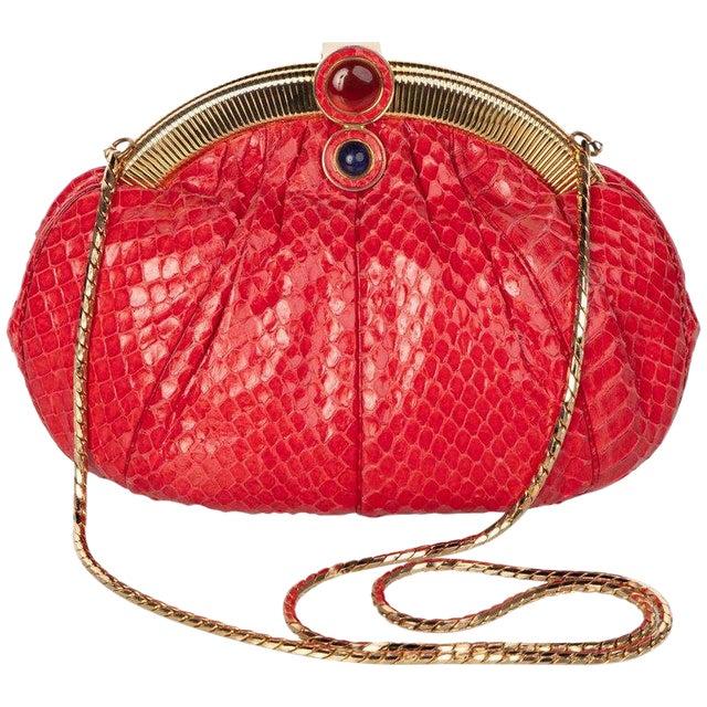 Vintage Judith Leiber Red Snake Skin Clutch Bag For Sale