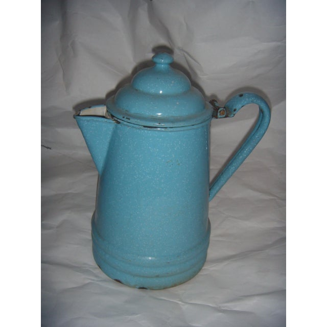 Rustic Country Blue Enamel Pitcher - Image 3 of 5