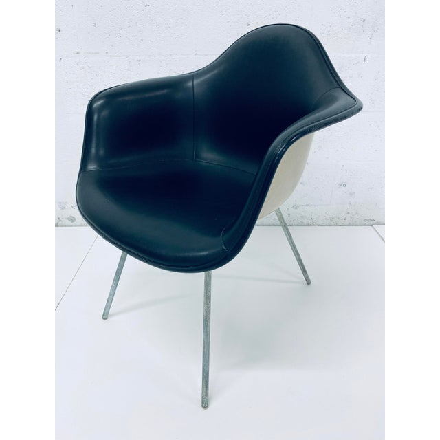 Herman Miller Black Leather Arm Chairs by Charles and Ray Eames, 1950 - a Pair For Sale - Image 9 of 12