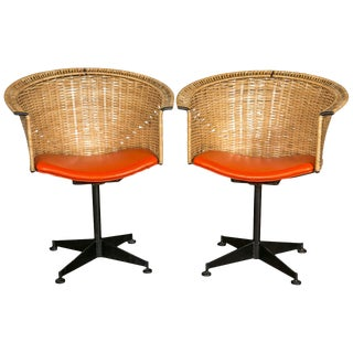 1960s Vintage Woven Swivel Chairs- a Pair For Sale