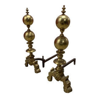 American Brass Andirons - a Pair For Sale