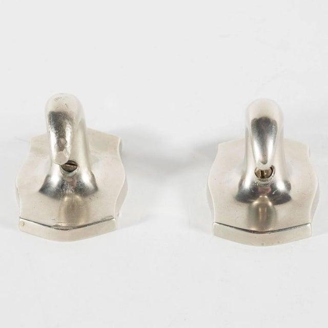 Mid-Century Modernist Pair of Elegant Towel Hooks in Brushed Nickel, American For Sale - Image 4 of 6
