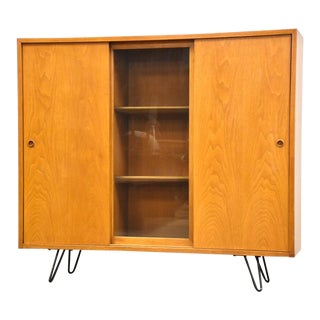 Bleached Walnut MCM Bookcase For Sale