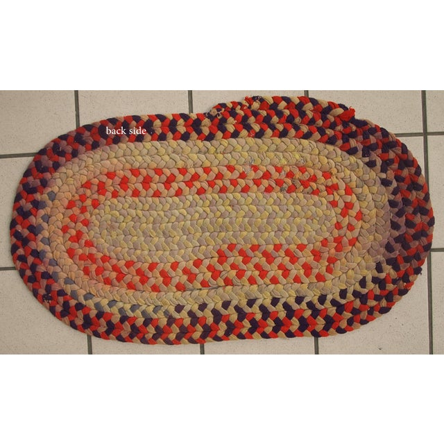"""1930s Handmade Antique American Braided Rug - 1'3"""" x 2'4"""" For Sale - Image 4 of 10"""