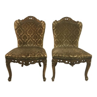 20th Century French Velvet Side Chairs - a Pair For Sale