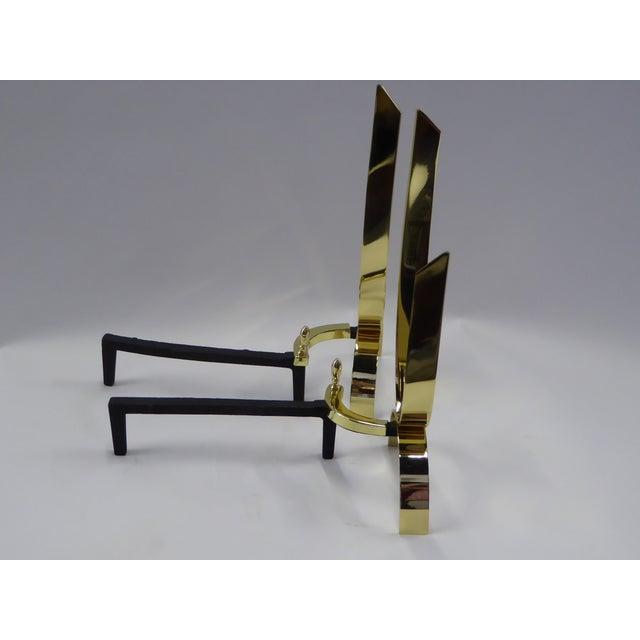 Donald Deskey Modernist Brass Andirons - Image 6 of 11