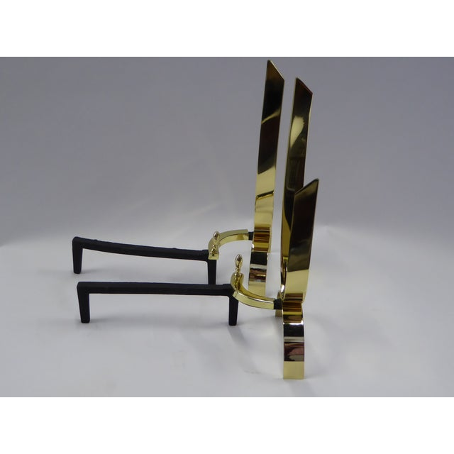 Donald Deskey Modernist Brass Andirons - A Pair For Sale In Miami - Image 6 of 11