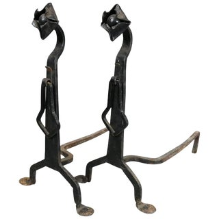 Pair of Antique Yellin School Arts & Crafts Wrought Iron Fireplace Andirons For Sale