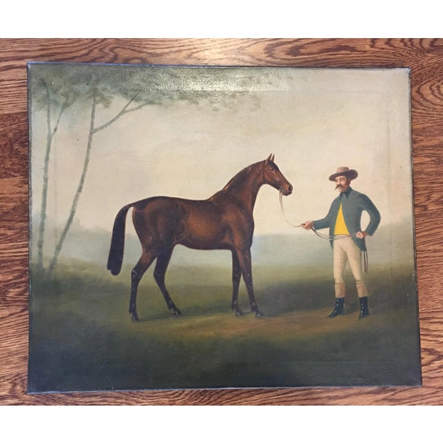 Late 19th Century Late 19th Century Antique Horse and Rider Painting For Sale - Image 5 of 5