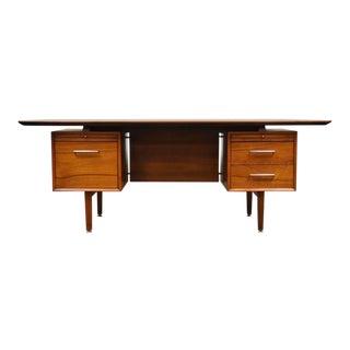 Walnut Mid Century Executive Desk For Sale