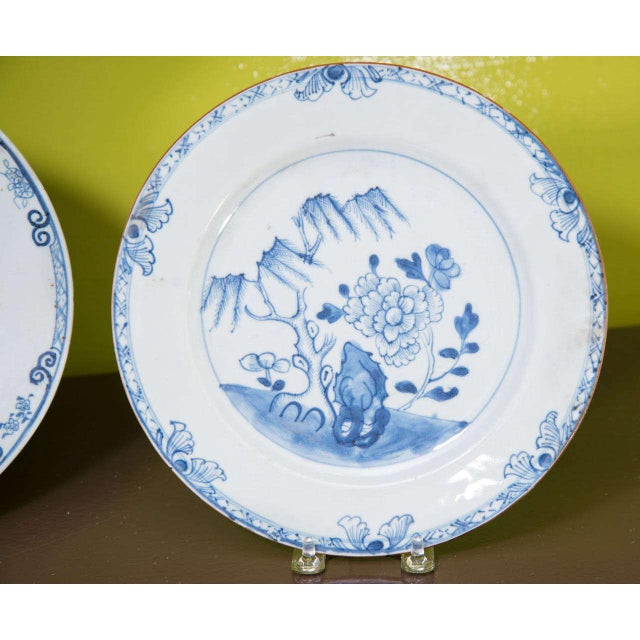 Blue Chinese Export Porcelain Plates For Sale - Image 8 of 10