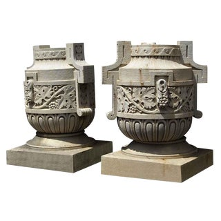 19th Century Traditional Decorative Limestone Urns - a Pair