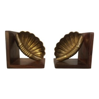 Rosewood / Brass Bookends - a Pair For Sale
