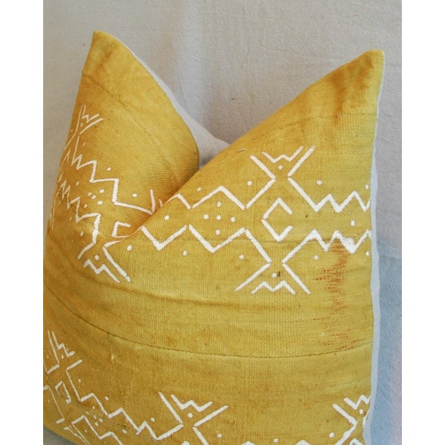 Handwoven Gold & Cream Tribal Feather & Down Pillow - Image 5 of 6