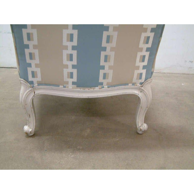 Circa 1950 French Provincial Drexel Blue, Cream and White With Anna French Cotton Twill Fabric Boudoir Chairs - a Pair - Image 8 of 11