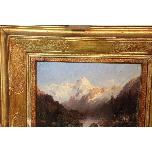 Gold Italian Oil Painting Mountain Landscape With Golden Frame For Sale - Image 8 of 13