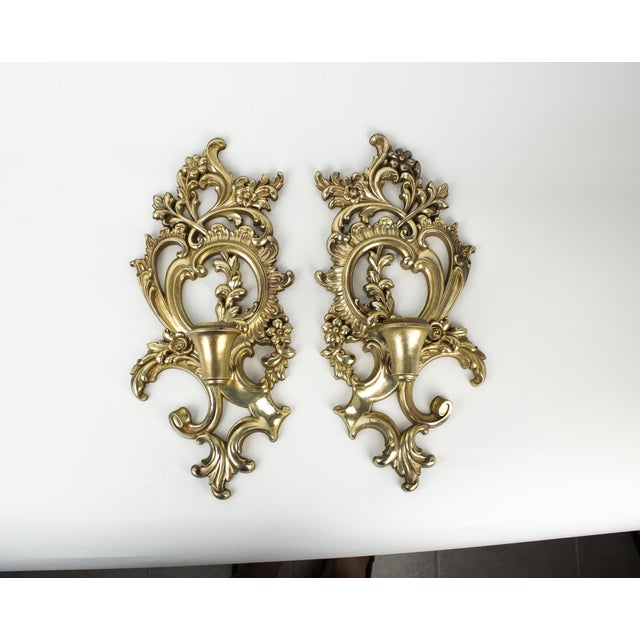 Hollywood Regency Syroco Wood Candle Sconces - a Pair For Sale - Image 10 of 10