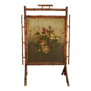 Bamboo & Painted Metal Fire Screen