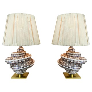 Pair of Glass Spiral Table Lamps With Shades For Sale