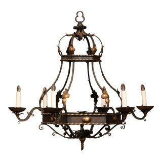 Early 20th Century French Hexagonal Six-Light Painted Iron Chandelier