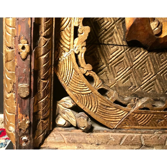 Gold 18th Century Antique Qing Chinese Carved Monumental Giltwood Temple Wall Panel Cassette For Sale - Image 8 of 12