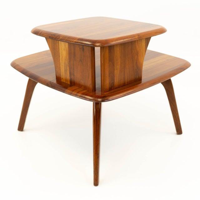 Mid 20th Century Mid CenturyModern Walnut Corner Side Table For Sale - Image 5 of 10