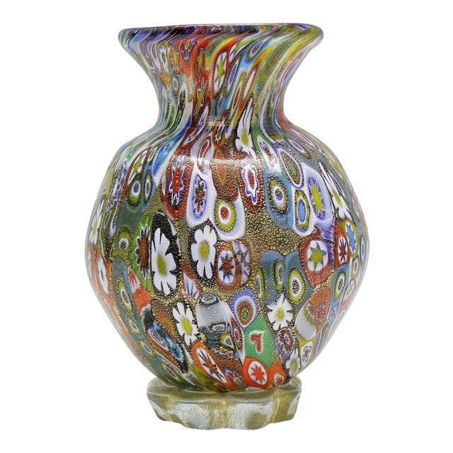 Vintage Murano Glass Millefiori Vase With Gold Mid Century Modern