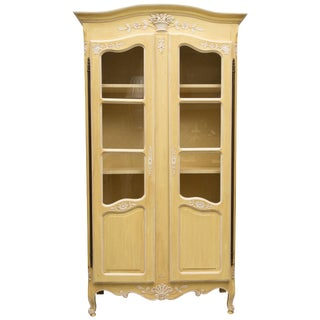French Louis XV Yellow Painted Armoire For Sale