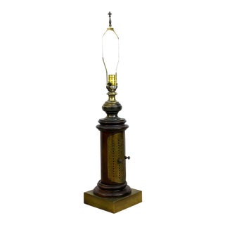 Vintage Frederick Cooper Brass & Rustic Wood Pillar French Calendar Table Lamp For Sale