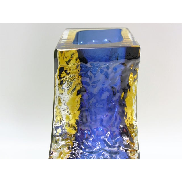 Large Italian Mandruzzato Murano Blue & Yellow Glass Sommerso Vase Mid-Century Modern MCM Campanella - Image 9 of 11